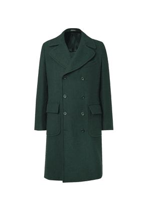 Rubinacci - Slim-Fit Double-Breasted Wool and Cashmere-Blend Twill Overcoat - Men - Green
