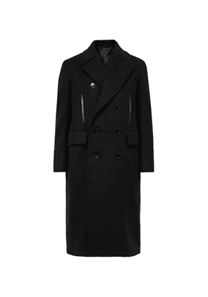 TOM FORD - Double-Breasted Leather-Trimmed Wool and Cashmere-Blend Coat - Men - Black