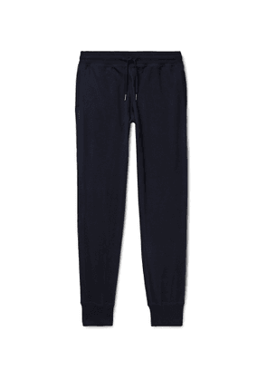 TOM FORD - Slim-Fit Tapered Cotton, Silk and Cashmere-Blend Jersey Sweatpants - Men - Blue