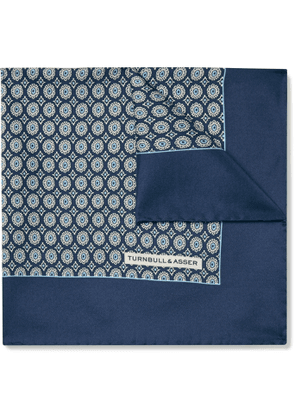 Turnbull & Asser - Printed Silk-Twill Pocket Square - Men - Blue