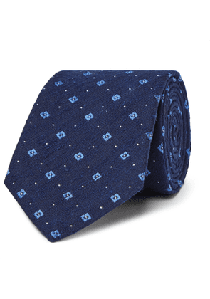 Turnbull & Asser - 8cm Slub Silk-Jacquard Tie - Men - Blue