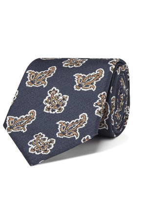 Turnbull & Asser - 7.5cm Paisley-Print Cotton and Silk-Blend Piqué Tie - Men - Blue
