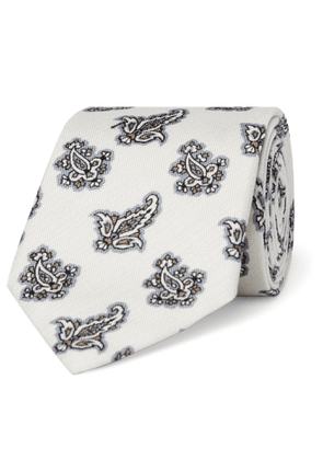 Turnbull & Asser - 8cm Paisley-Print Cotton and Silk-Blend Piqué Tie - Men - Neutrals