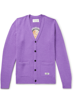 Wacko Maria - Embroidered Wool Cardigan - Men - Purple