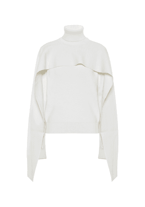 Cotton and wool cape sweater