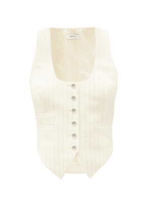 Racil - Nadia Pinstriped Wool-blend Waistcoat - Womens - Ivory