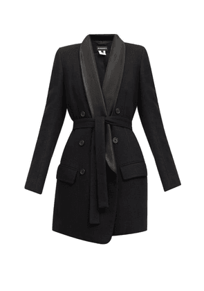 Ann Demeulemeester - Double-breasted Satin-lapel Belted Wool Coat - Womens - Black