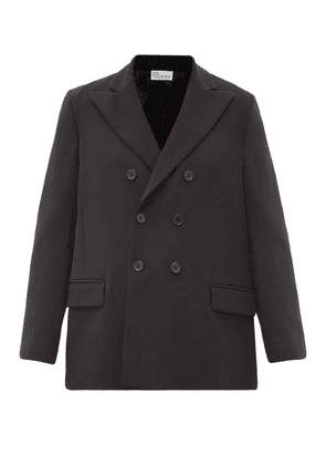 REDValentino - Double-breasted Pleated-back Crepe Jacket - Womens - Black