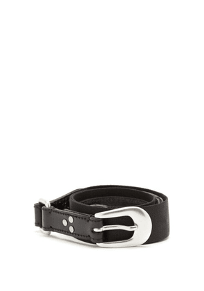 Our Legacy - Riveted Leather And Webbing Belt - Mens - Black