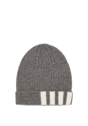 Thom Browne - Four Bar-jacquard Ribbed-cashmere Beanie - Mens - Grey