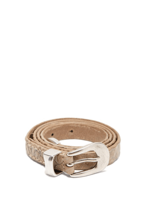 Our Legacy - Crocodile-effect Leather Belt - Mens - Light Brown