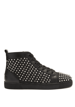 Christian Louboutin - Louis Spiked Leather-trimmed High-top Trainers - Mens - Black Multi