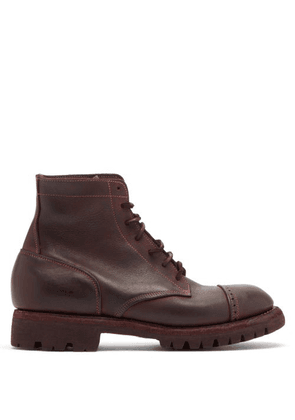 Guidi - Soldato Distressed-leather Boots - Mens - Burgundy