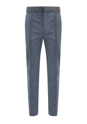 Y/Project - Multi-loop Waist Flannel Slim-leg Trousers - Mens - Grey