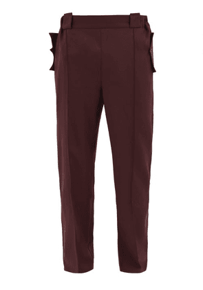 Boramy Viguier - High-rise Side-stripe Wool Trousers - Mens - Red