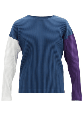 Homme Plissé Issey Miyake - Colour-block Pleated Long-sleeved T-shirt - Mens - Navy Multi