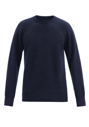 Albam - Crew-neck Ribbed-knit Wool Sweater - Mens - Navy