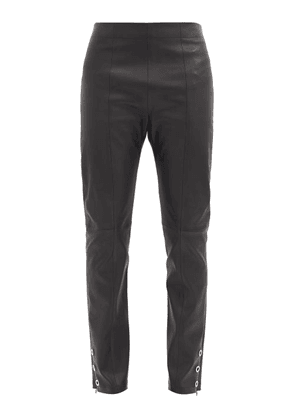 Ludovic De Saint Sernin - Eyelet-cuff Slim-leg Leather Trousers - Mens - Black