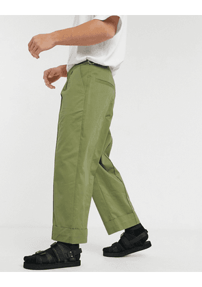 ASOS WHITE wide leg trousers with front crease in green