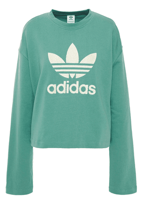Adidas Originals Embroidered French Cotton-terry Sweatshirt Woman Grey green Size 36