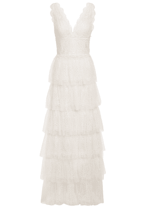 Catherine Deane Kershaw Tiered Lace And Point D'esprit Gown Woman Neutral Size 12