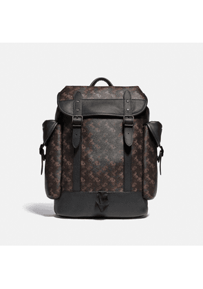 Hitch Backpack With Horse And Carriage Print in Brown/Black