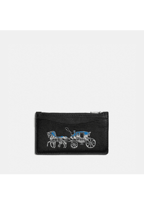 Zip Card Case With Horse And Carriage in Black