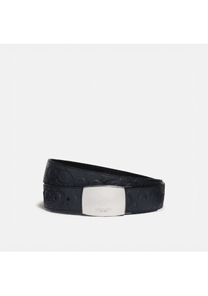 Plaque Buckle Cut-to-size Reversible Belt, 38mm in Blue - Size 42