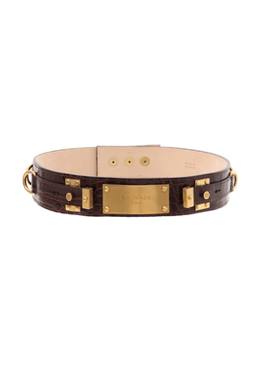 Balmain - Women's Embossed Croc Print B-Plate Leather Belt - Brown - Moda Operandi