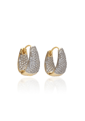 FALLON Pave Crystal Gold-Plated Huggie Earrings
