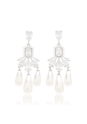 FALLON Buckingham Silver-Plated Brass Pearl and Crystal Earrings