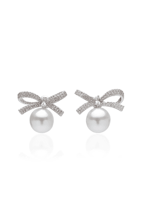 FALLON Pearl And Crystal-Embellished Brass Earrings