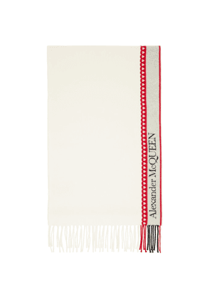 Alexander McQueen White and Red Wool and Cashmere Heart Scarf