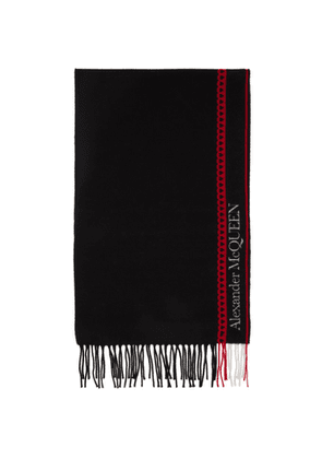 Alexander McQueen Black and Red Wool and Cashmere Heart Scarf