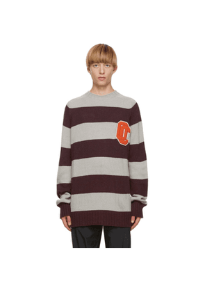 Opening Ceremony Grey and Burgundy Alpaca Striped OC Sweater