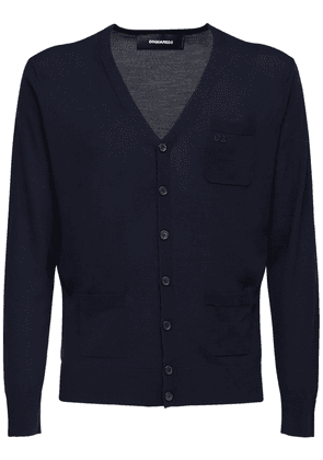 Logo Embroidered Wool Knit Cardigan