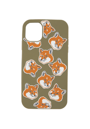 Maison Kitsune Khaki Fox Head iPhone 11 Case