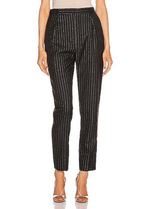 Saint Laurent Striped Tailored Pant in Black & Silver - Black. Size 40 (also in 38,42).