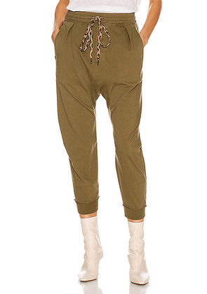 R13 Harem Sweatpant in Olive - Green. Size S (also in L,M,XS).
