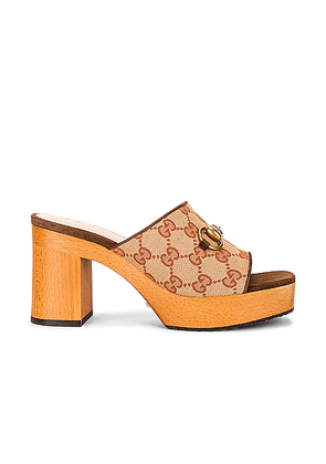 Gucci Houdan Sandals in Beige Ruggine & Maroon - Abstract,Brown. Size 36 (also in 35,35.5,36.5,38,40).