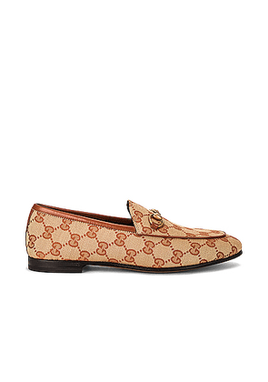 Gucci Jordan GG Canvas Loafers in Beige Ruggine & Rust - Neutral. Size 37 (also in 35,35.5,36.5,37.5,38,39,39.5).