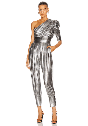 retrofete for FWRD Thambi Jumpsuit in Gunmetal - Metallic Silver. Size L (also in M,S,XS).