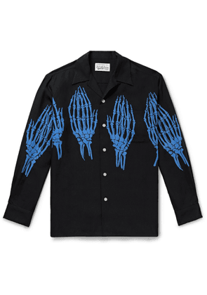 Wacko Maria - Camp-Collar Printed Lyocell Shirt - Men - Black