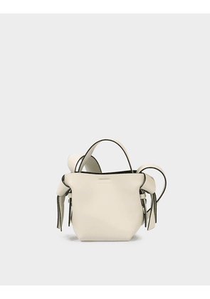 Musubi Micro Bag in White and Black Leather