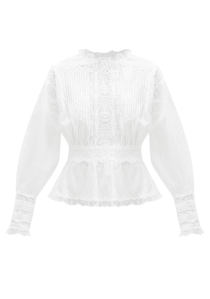 Dolce & Gabbana - Lace-trimmed Pintucked Cotton-blend Blouse - Womens - White