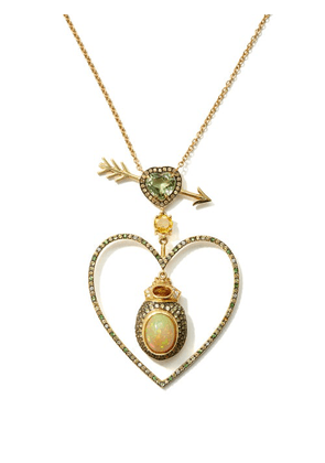 Daniela Villegas - Beaming Love Diamond, Opal, 18kt Gold Necklace - Womens - Yellow Gold