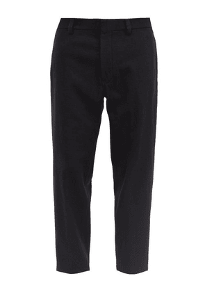 Ann Demeulemeester - Cropped Brushed Cotton-blend Trousers - Mens - Black