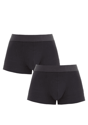 Sunspel - Pack Of Two Cotton-blend Boxer Briefs - Mens - Black