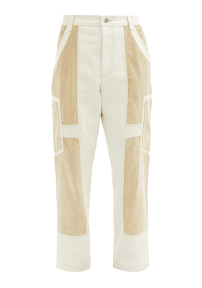 Jacquemus - Panelled Cotton-twill And Corduroy Trousers - Mens - Cream