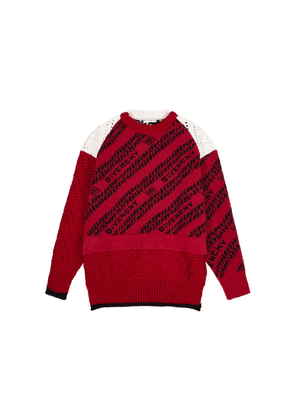 Givenchy Red Logo-intarsia Wool-blend Jumper